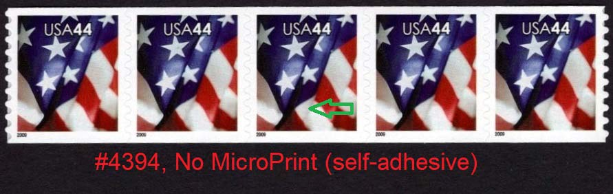 "Scott 4394 Strip of 5 (44 cents) <font color=red><b> Without Micro Print, see the image </font></b><p> <a href=""/images/USA-Scott-4394-(5).jpg""><font color=green><b>View the image</a></b></font>"
