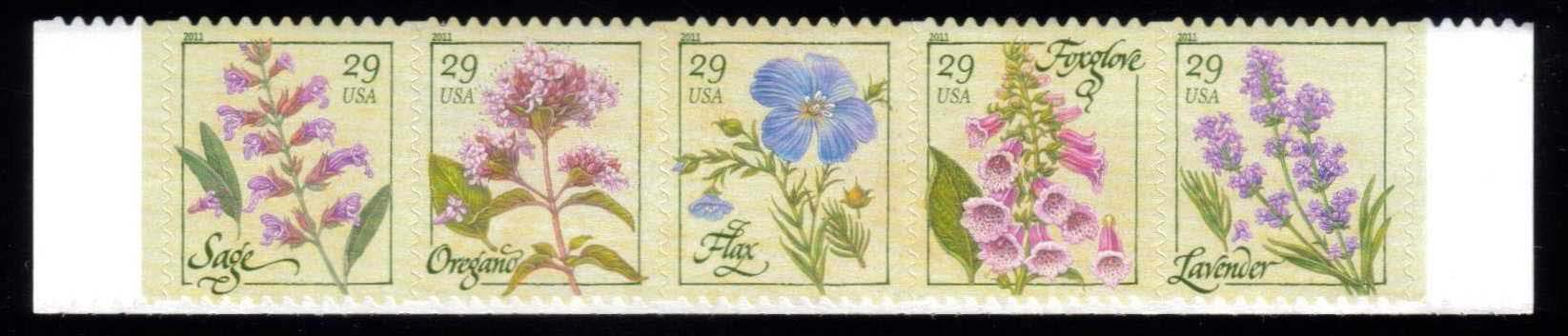 Scott #4505-4509, 29 Cents row of 5 stamps, Herbs
