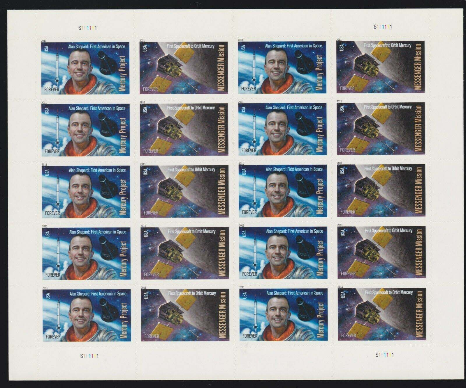 Scott #4527-4528, Forever sheet of 20, Alan Shepard, First American in Space