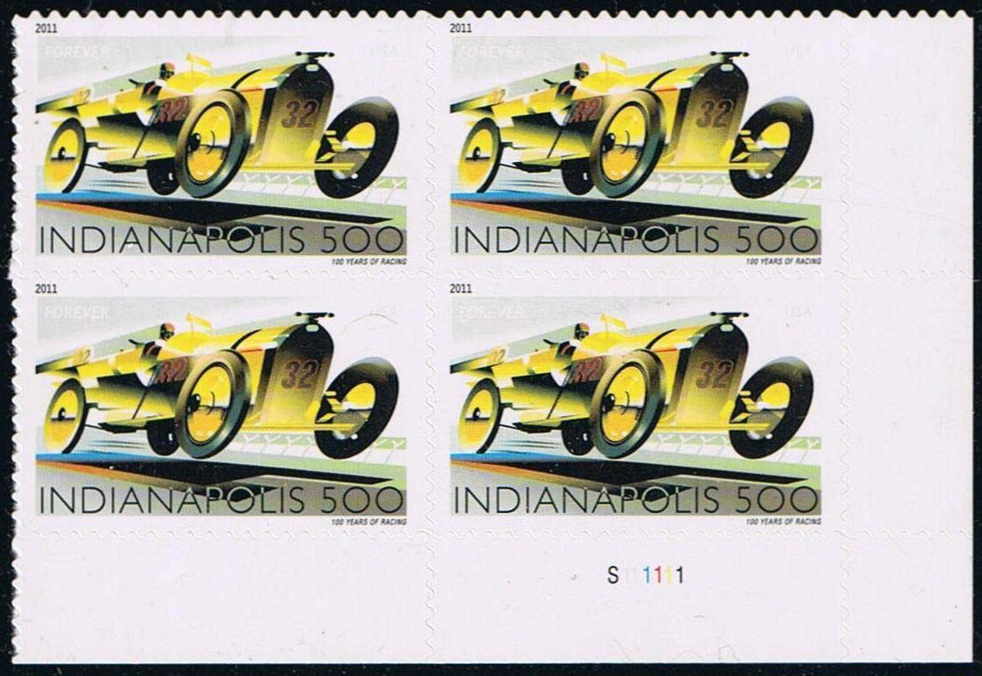 Scott #4530, Forever Plate Block of 4, Indianapolis 500 Race Car