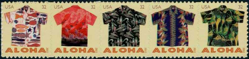 Scott #4592-4596, 32 Cents Row of 5 stamps, Aloha Shirts