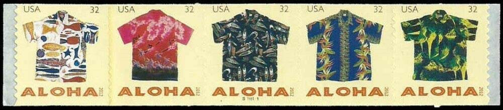 Scott #4597-4601, 32 Cents Coil of 5 stamps, Aloha Shirts