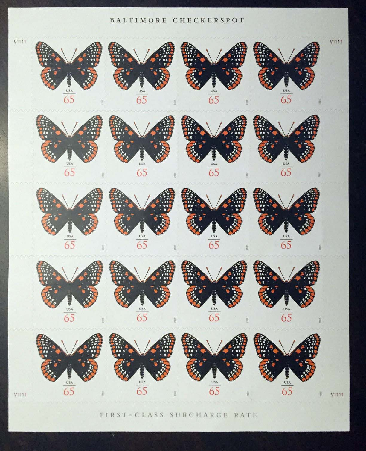 Scott #4603, sheet of 20, Butterfly.  See also #4736 (66 cents), #4859 (70 cents), #4999 (71 cents), #5136 (2 oz rate).