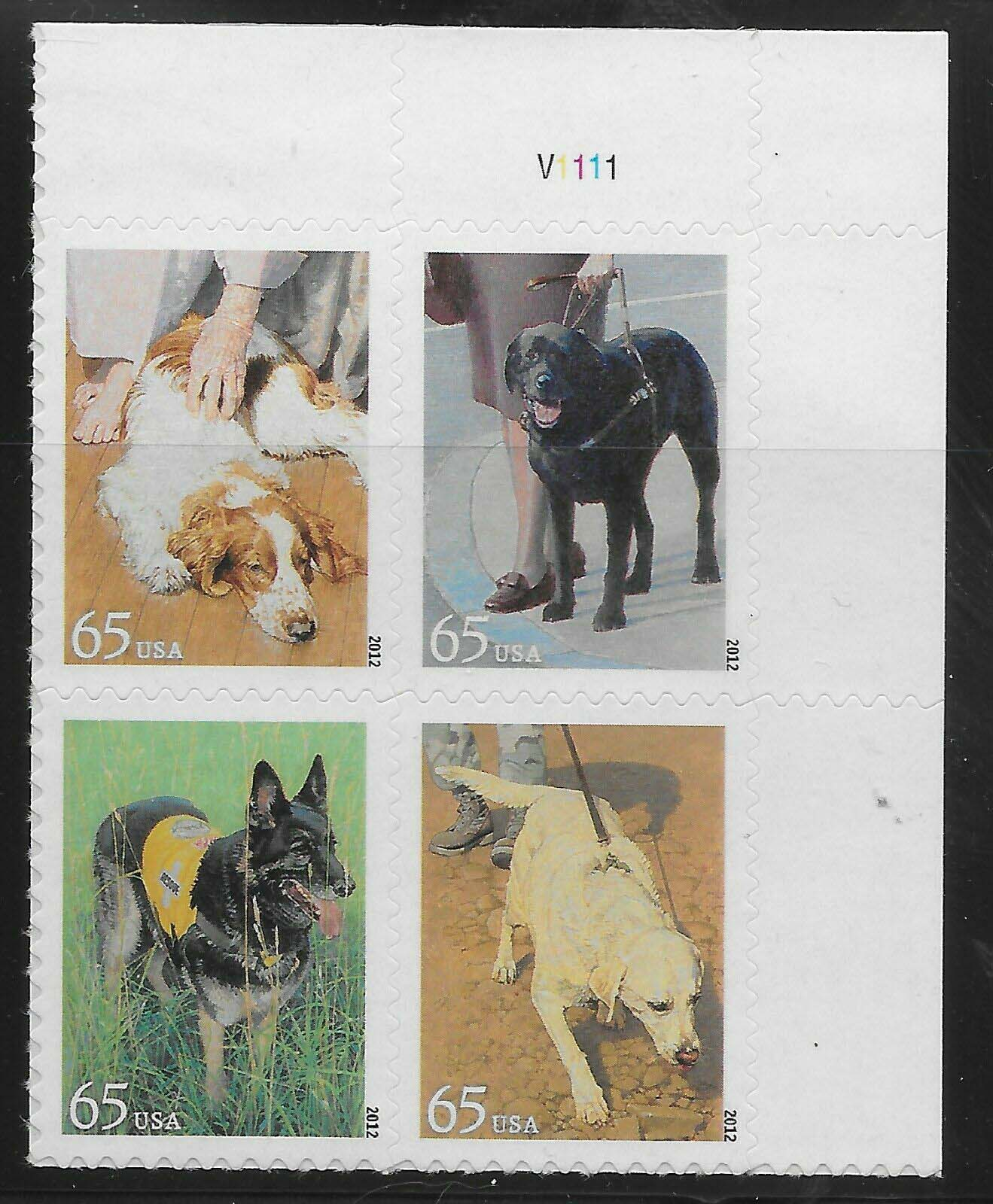 Scott #4604-4607, 65 cents, Plate Block of 4, Dogs at work