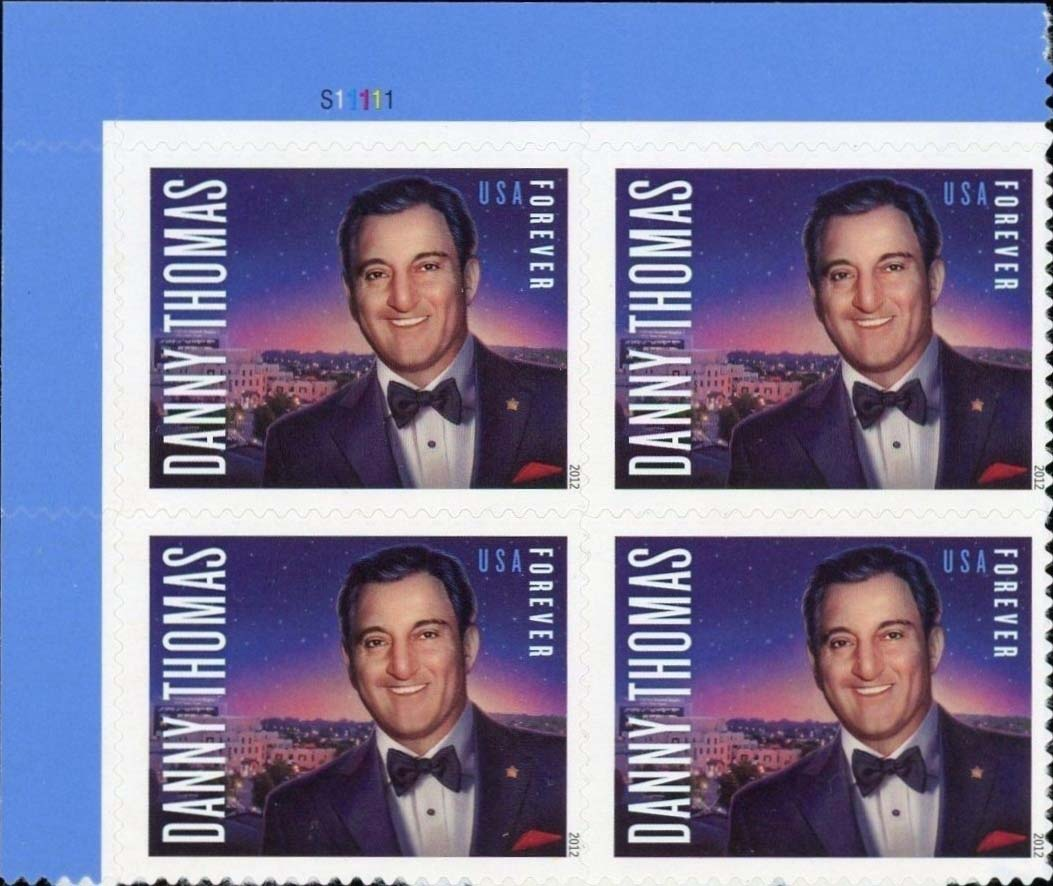 Scott #4628, Forever Plate Block of 4, Danny Thomas