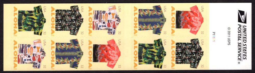 Scott #4682-4686, Forever Booklet, pane of 10, one side, Alopha Shirts