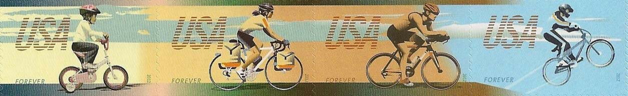 Scott #4687-4690, Forever Strip of 4, Bicycling