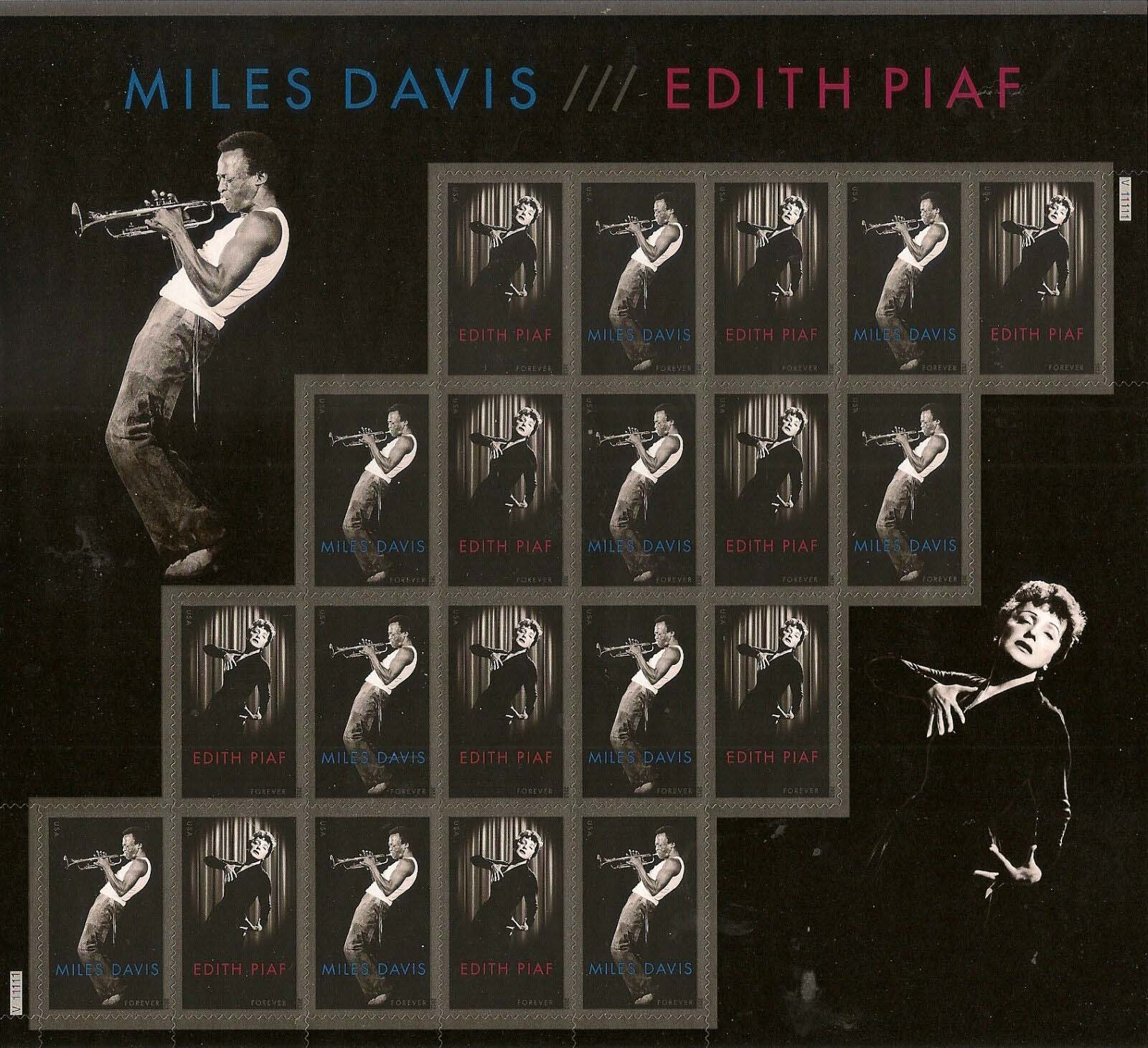 "Scott 4692-4693 Sheet of 20 Forever stamps, Edith Piaf, Miles Davis <p> <a href=""/images/USA-Scott-4692-4693.jpg""><font color=green><b>View the image</a></b></font>"