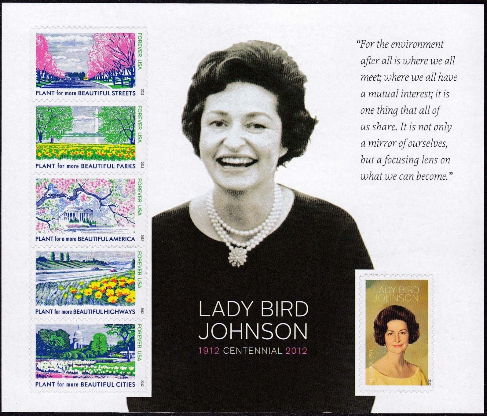 "Scott 4716 Lady Bird Johnson Sheet of 6 Forever Stamps,  (Face 2.94) <p> <a href=""/images/USA-Scott-4716-Sheet.jpg""><font color=green><b>View the image</a></b></font>"