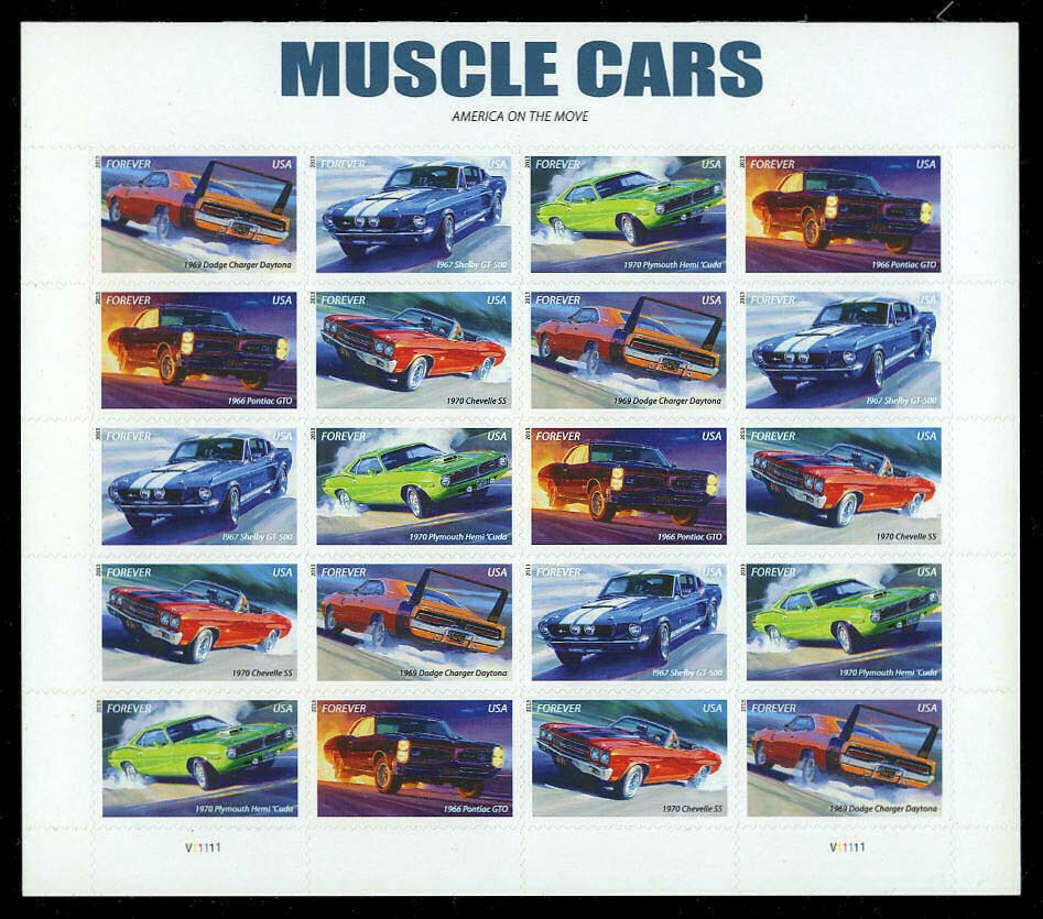 Scott #4743-4747, Forever sheet of 20, Muscle Cars