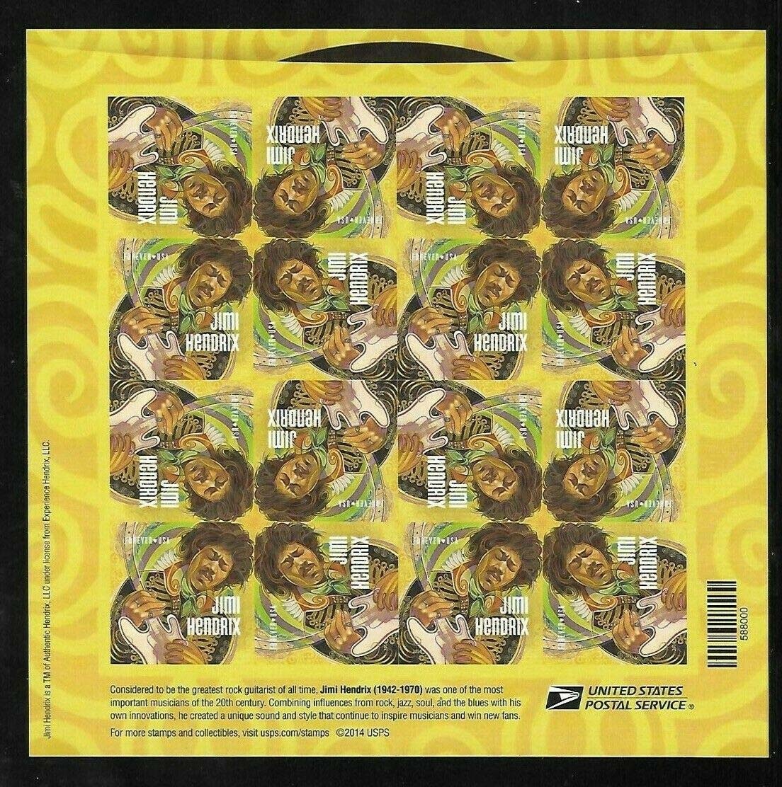 "Scott 4880 Sheet, Forever Stamp, sheet of 16, Jim Hendrix <p> <a href=""/images/USA-Scott-4880-Sheet.jpg""><font color=green><b>View the image</a></b></font>"