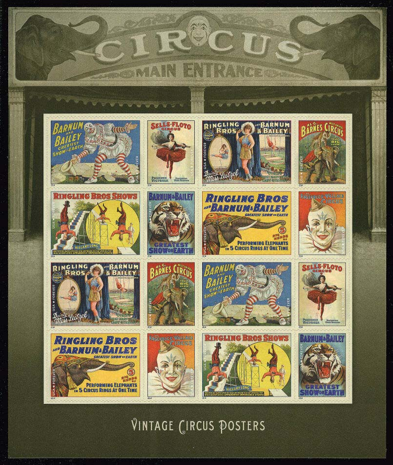 Scott #4898-4905, Forever sheet of 16, Vintage Circus Posters