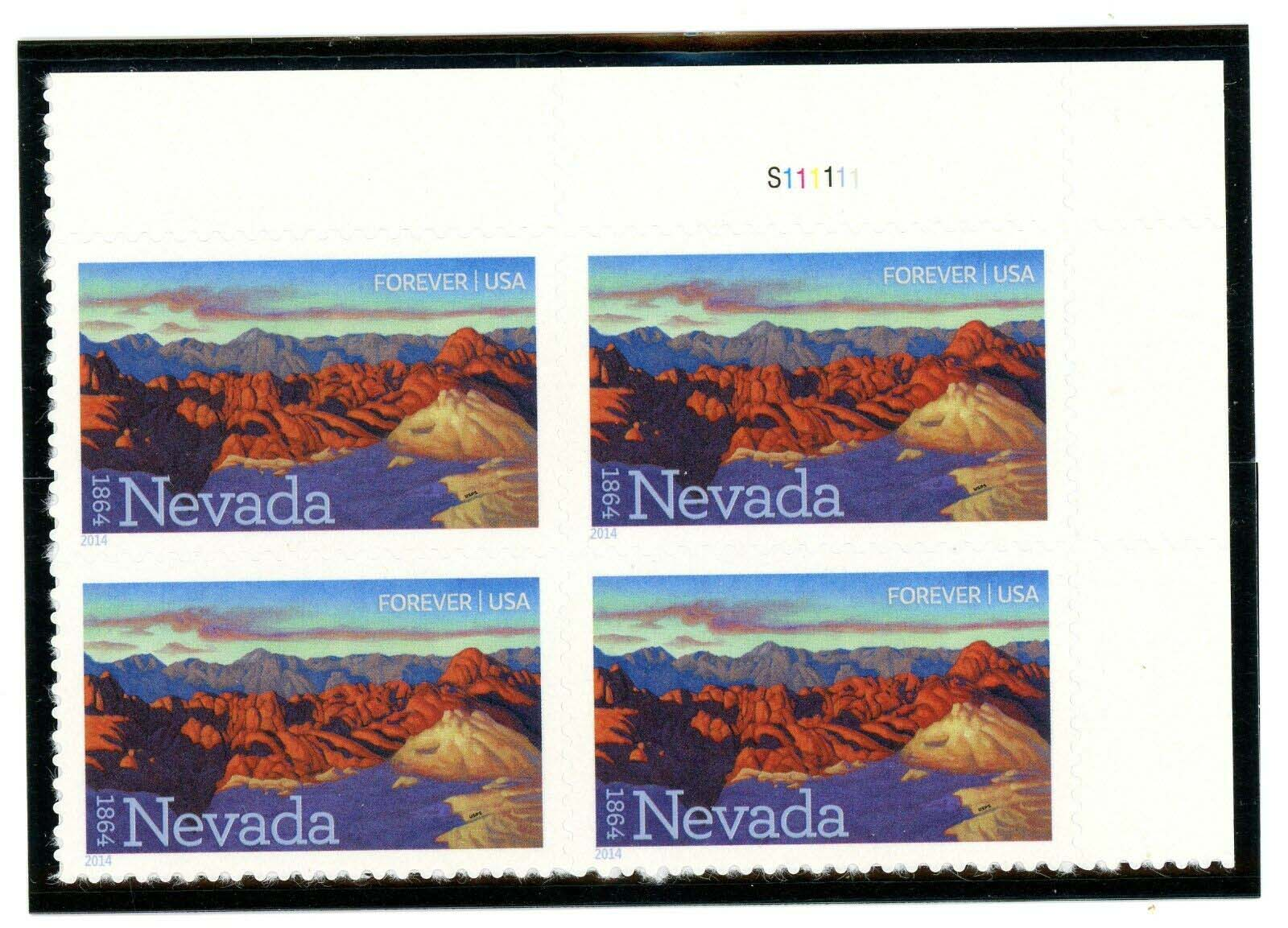 Scott #4907, Forever Plate Block of 4, Nevada, Fire Canyon