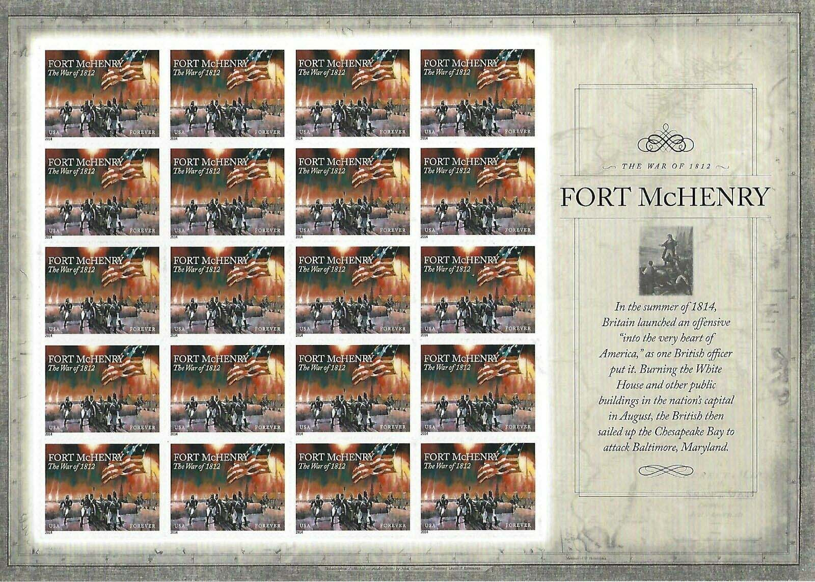 Scott #4921, Forever sheet of 20, Bombardment of Fort McHenry