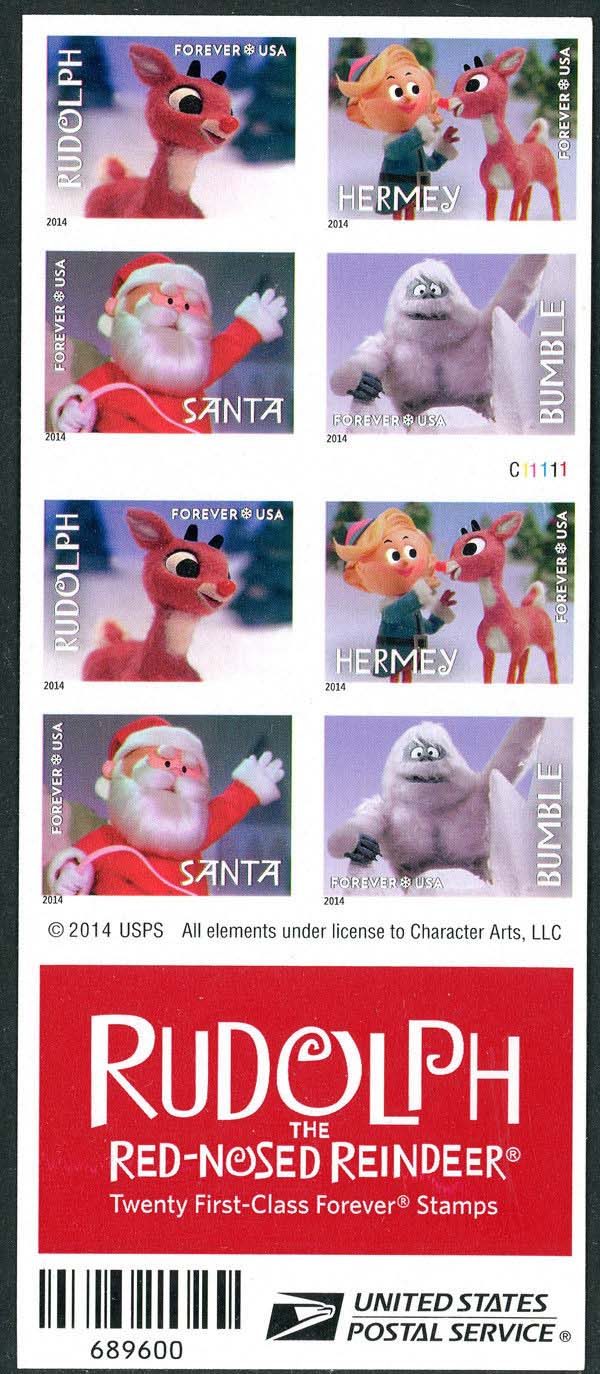 Scott #4946-4949, Forever sheet of 20, Double sided, Rudolph the Red-Nosed Reindeer