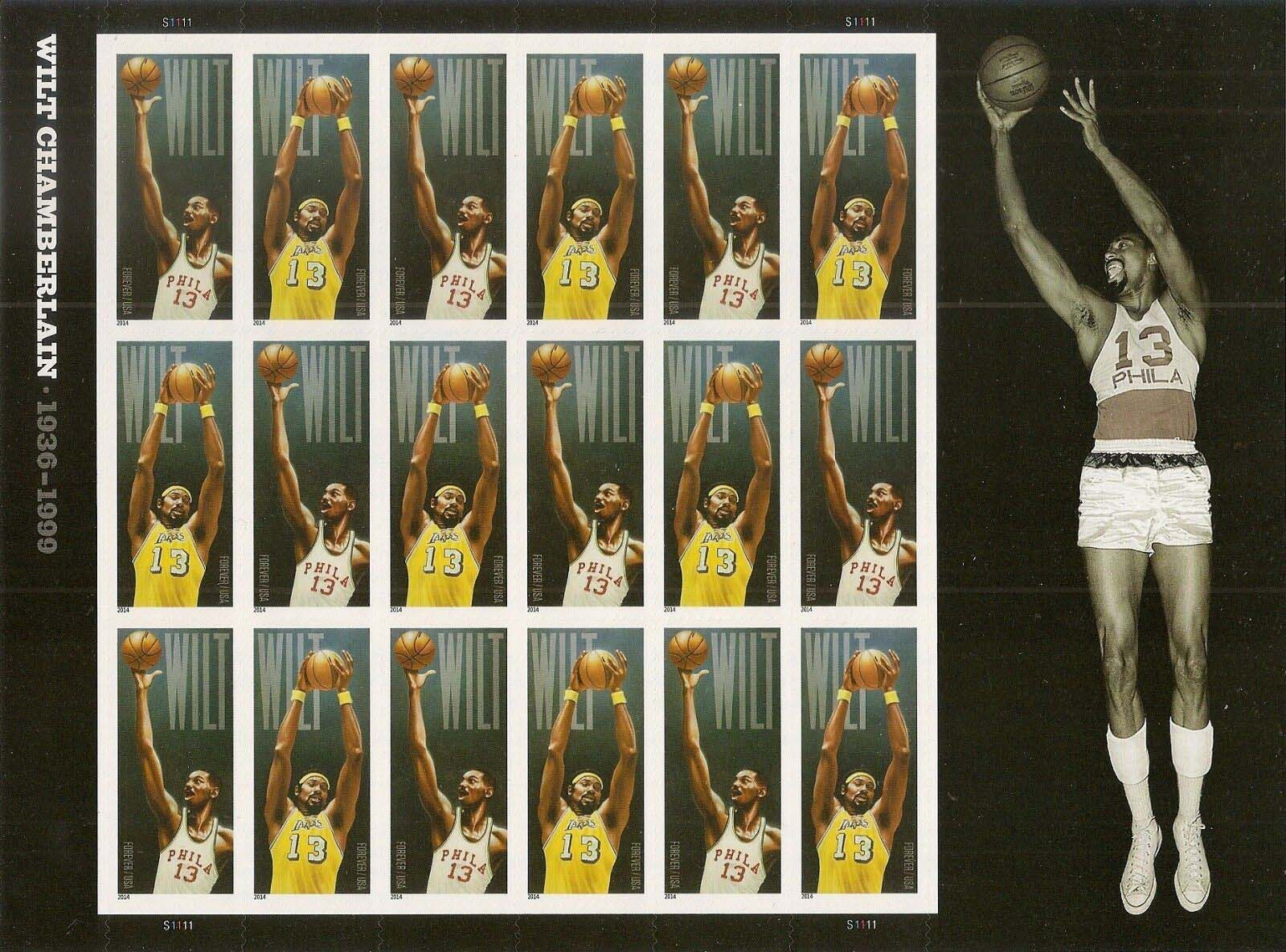 Scott #4950-4951, Forever sheet of 18, Wilt Chamberlain