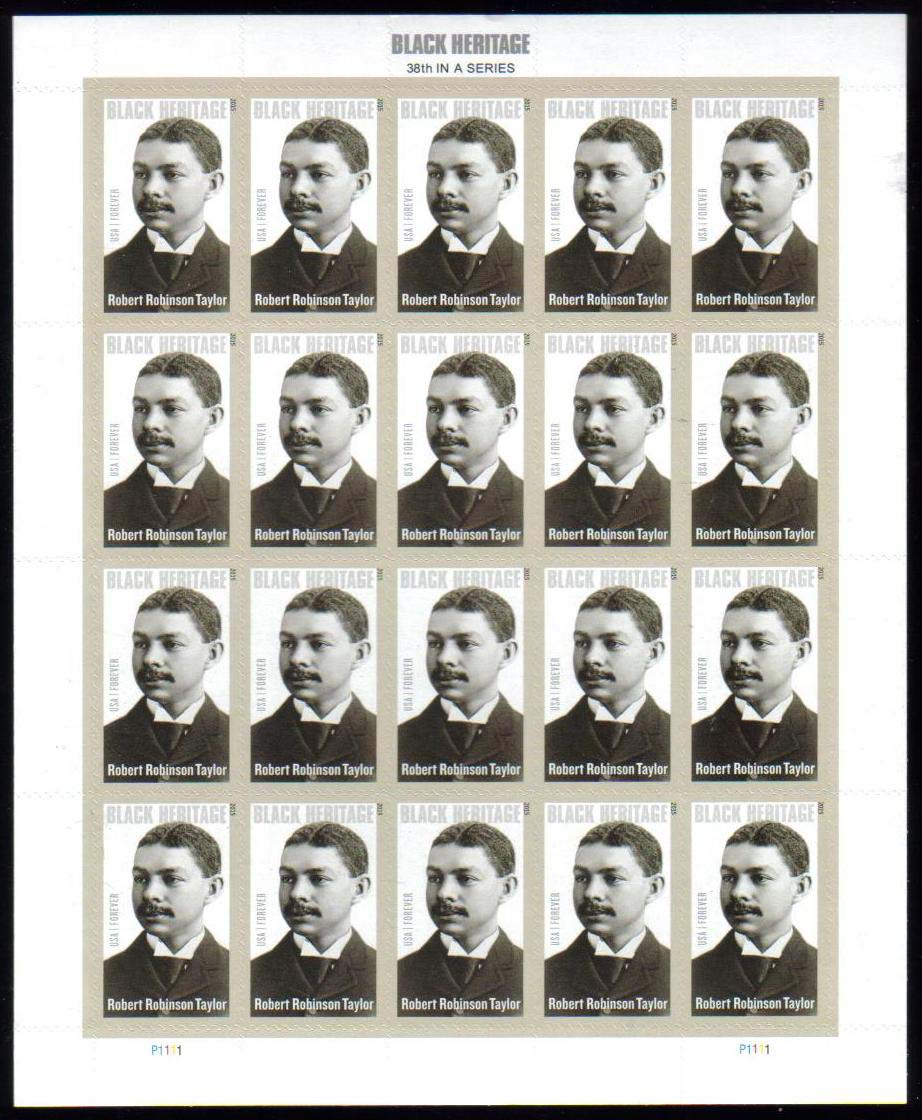 "Scott 4958 Sheet, Forever Stamp, sheet of 20, Robert Robinson Taylor<p> <a href=""/images/USA-Scott-4958-Sheet.jpg""><font color=green><b>View the image</a></b></font>"