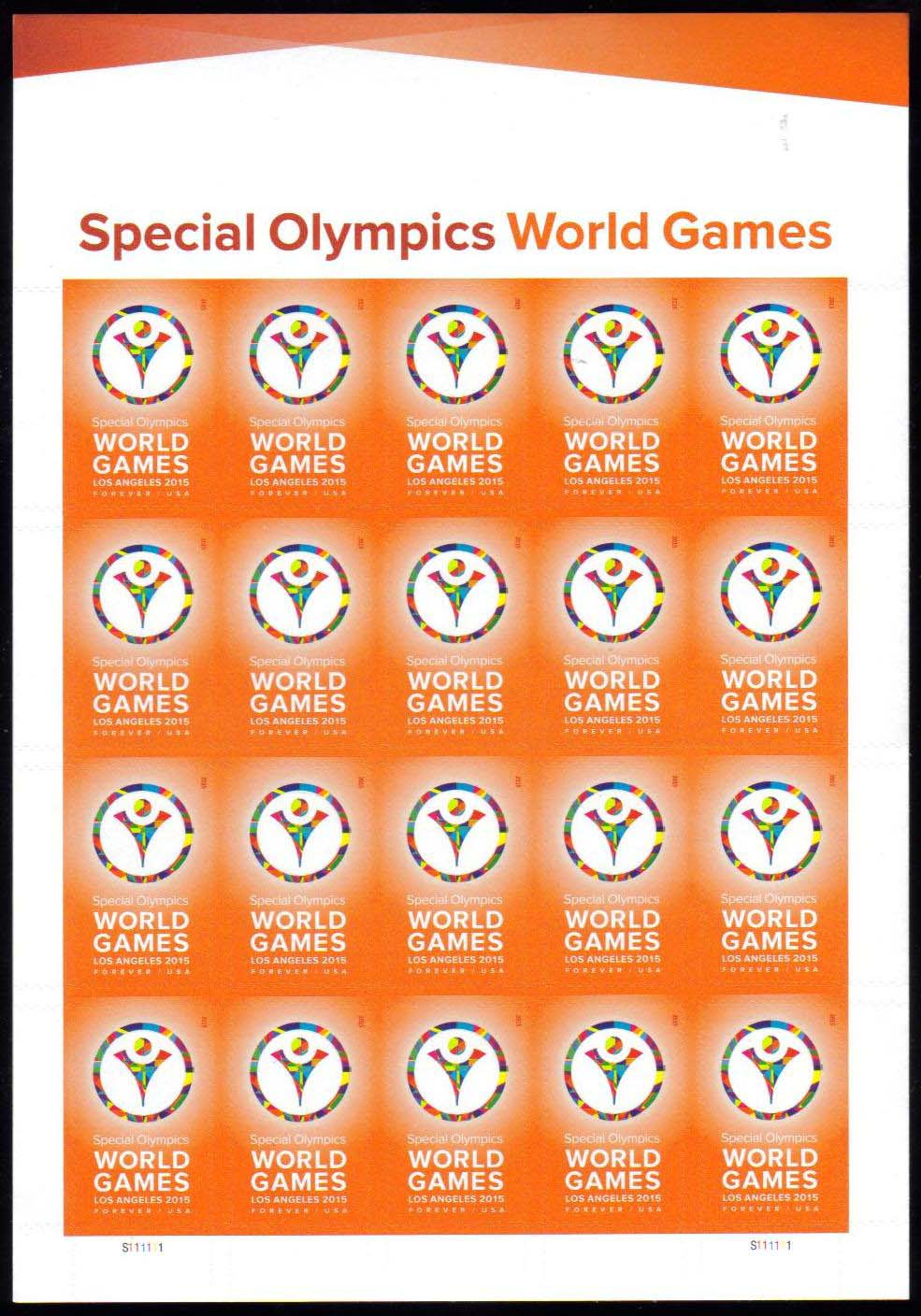 "Scott 4986 Sheet, Forever Stamp, sheet of 20, Special Olympics World Games<p> <a href=""/images/USA-Scott-4986-Sheet.jpg""><font color=green><b>View the image</a></b></font>"