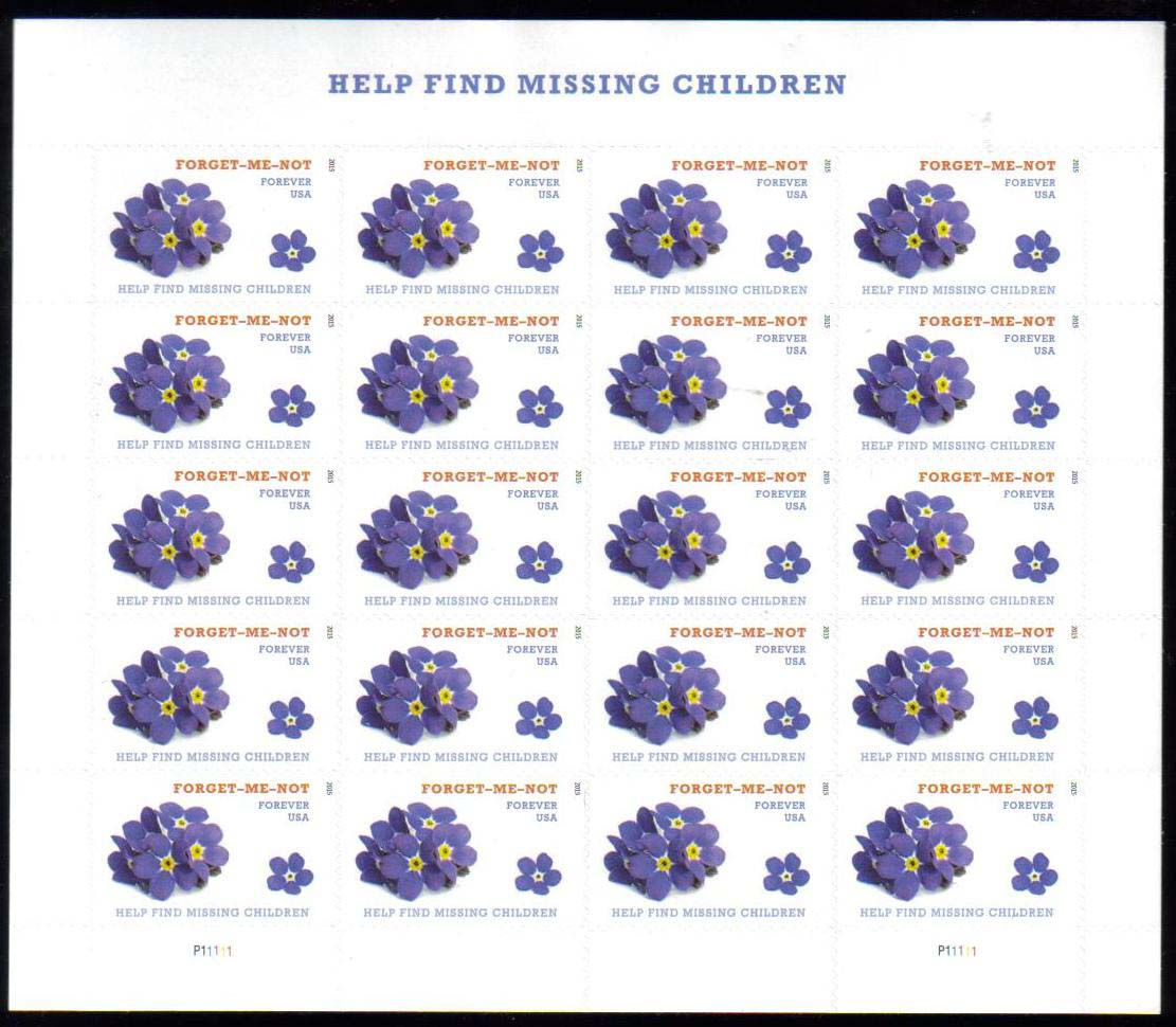"Scott 4987 Sheet, Forever Stamp, sheet of 20, Help Find Missing Children<p> <a href=""/images/USA-Scott-4987-Sheet.jpg""><font color=green><b>View the image</a></b></font>"