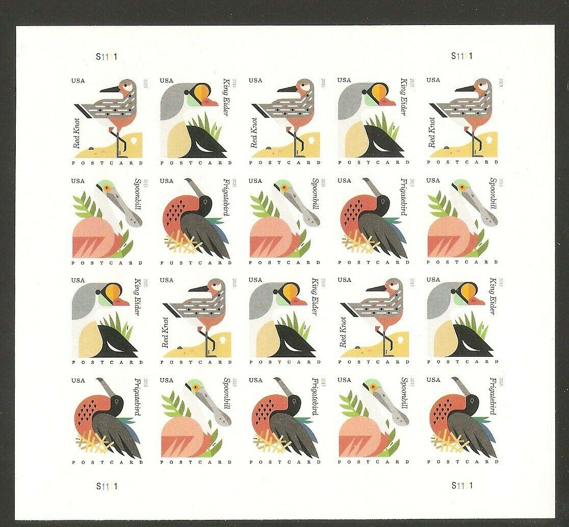 Scott #4991-4994, Forever sheet of 20, Coastal Birds