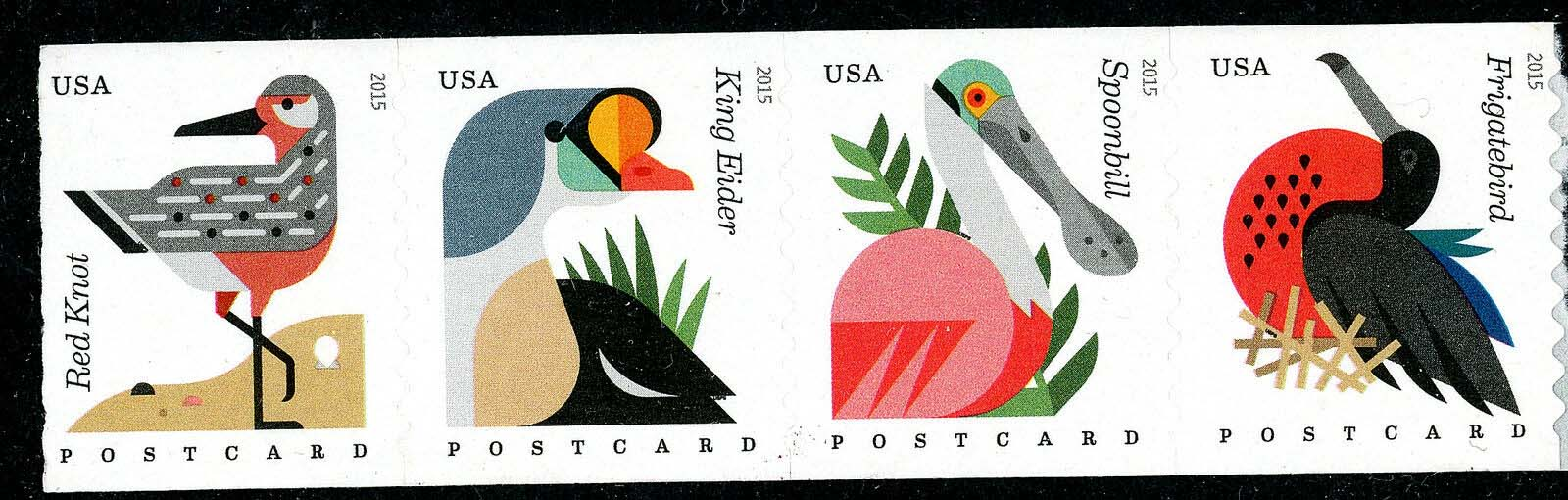 Scott #4995-4998, Forever coil of 4, Coastal Birds