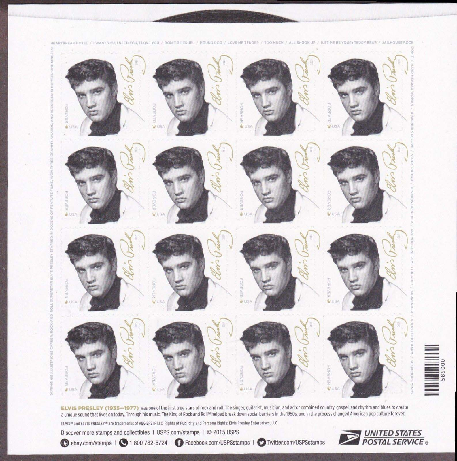 Scott #5009, Forever Sheet of 16, Elvis Presley