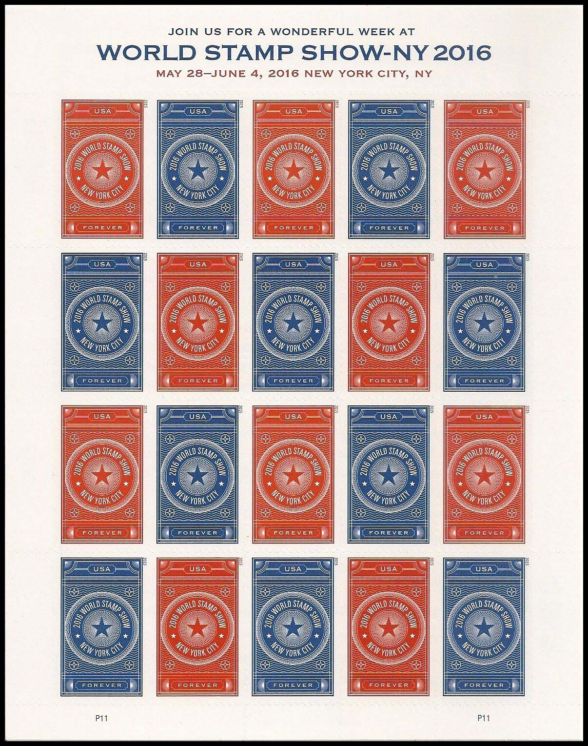Scott #5010-5011, Forever Sheet of 20, 2016 World Stamp Show