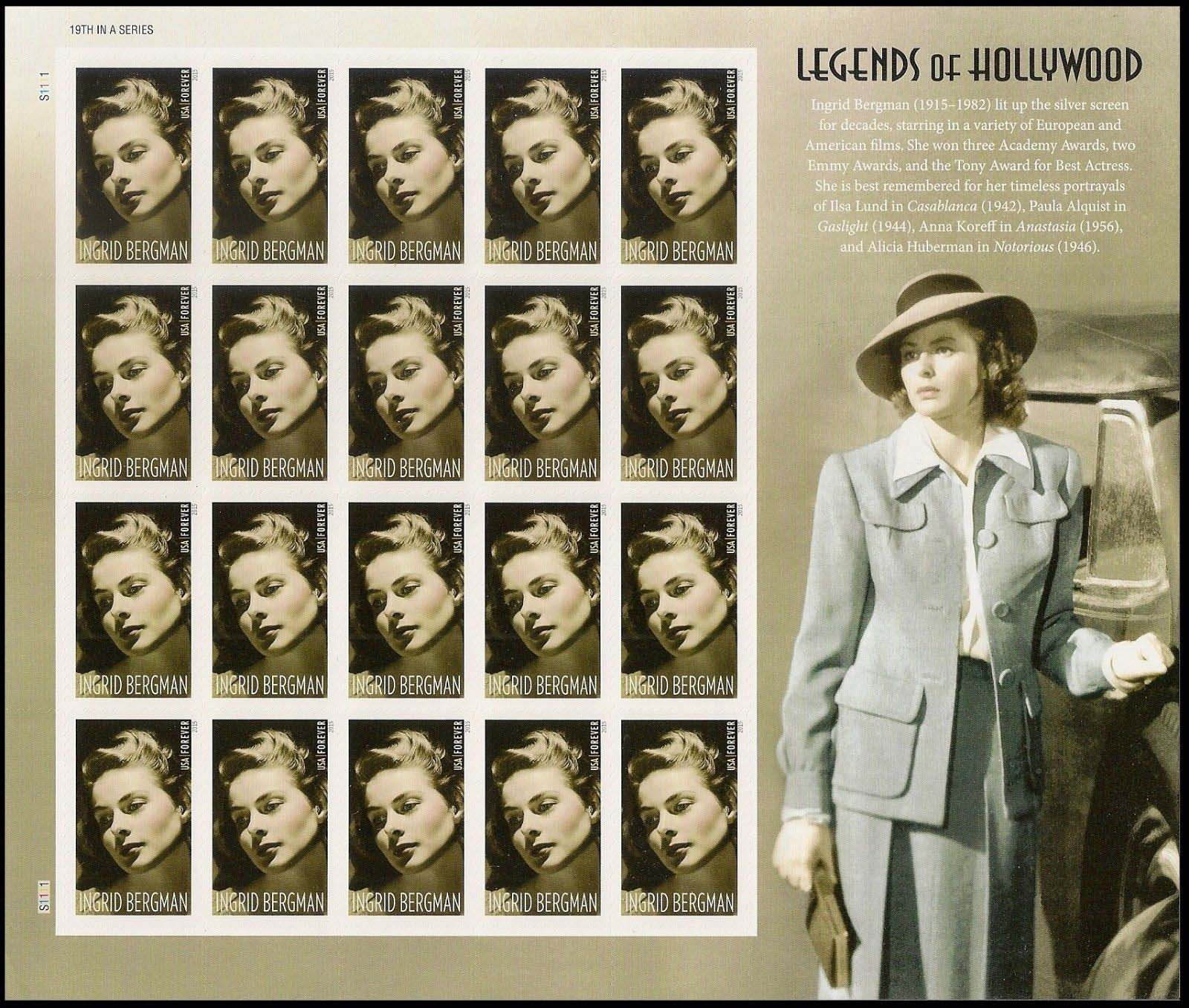 Scott #5012, Forever Sheet of 20, Ingrid Bergman
