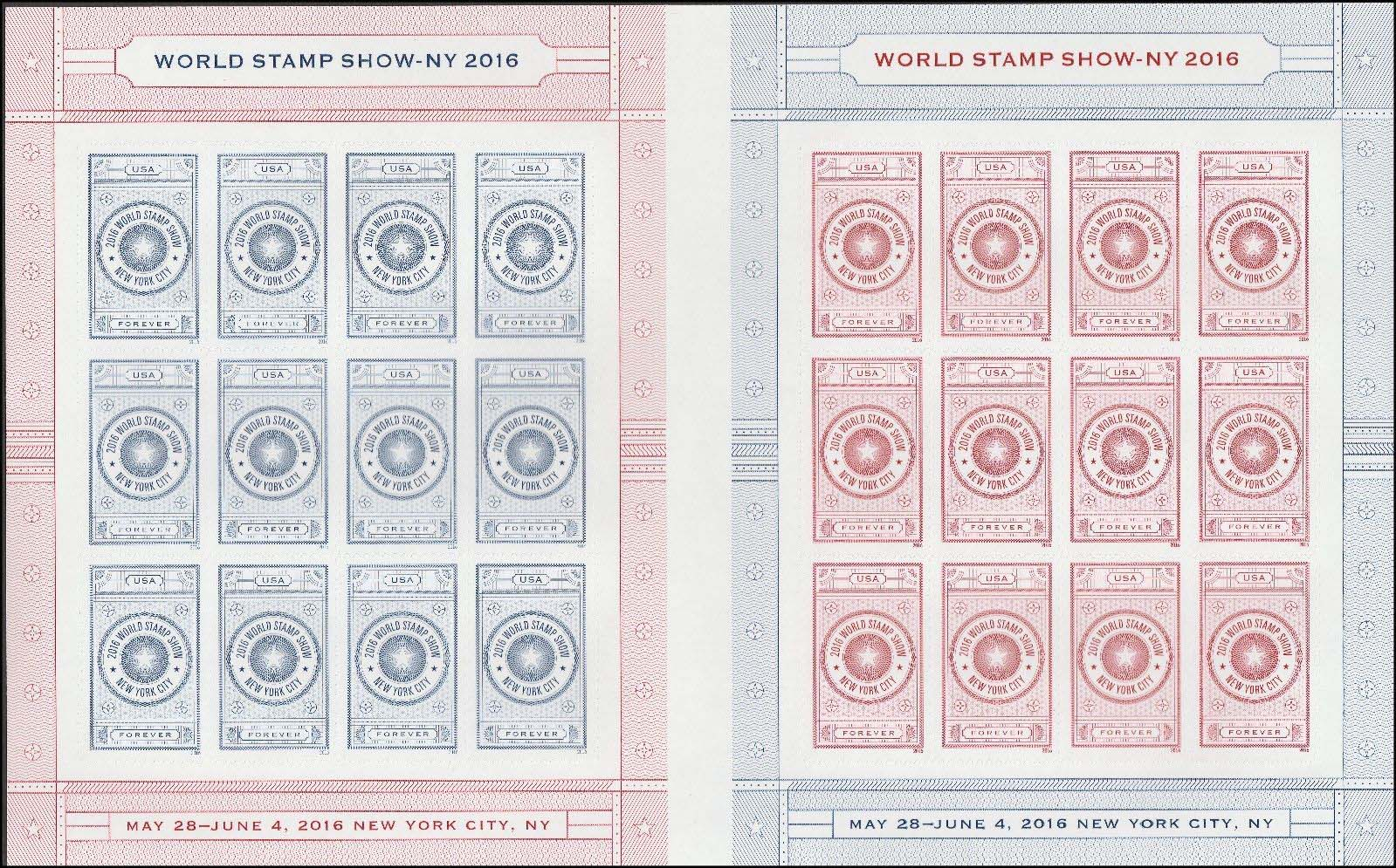 "Scott 5062-5063, Pane of 24, Forever Stamp, World Stamp Show 2016<p> <a href=""/images/USA-Scott-5062-5063-Sheet.jpg""><font color=green><b>View the image</a></b></font>"