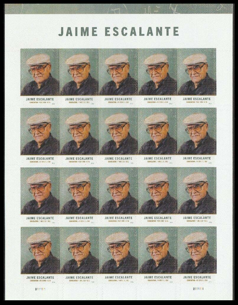 "Scott 5100 Sheet, Forever Stamp, sheet of 20, Jaime Escalante <p> <a href=""/images/USA-Scott-5100-Sheet.jpg""><font color=green><b>View the image</a></b></font>"
