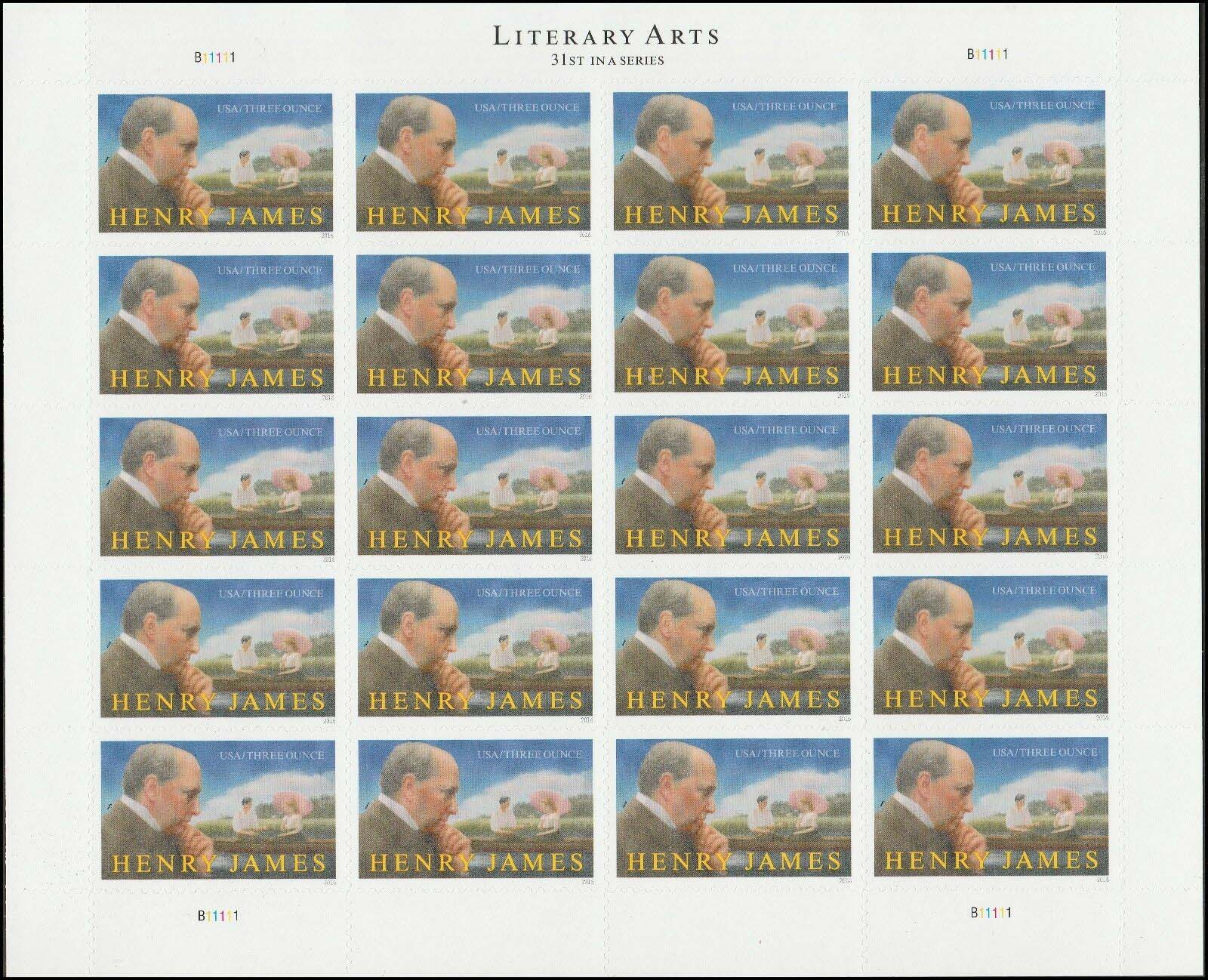 Scott #5105, (3 oz Rate=85 cents) sheet of 20, Literary Arts, Henry James