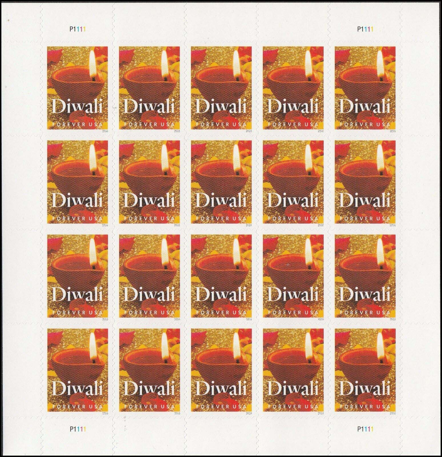 "Scott 5142 Sheet, Forever Stamp, sheet of 20, Diwali <p> <a href=""/images/USA-Scott-5142-Sheet.jpg""><font color=green><b>View the image</a></b></font>"