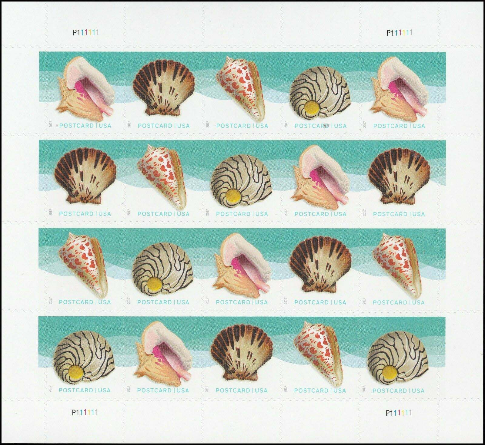 Scott #5163-5166, Forever Sheet of 20, Seashells