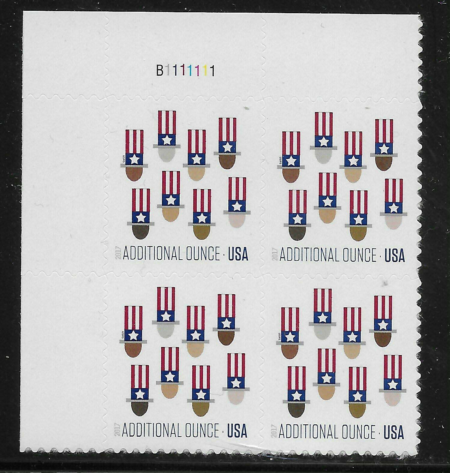 Scott #5174, 21 Cents Additional Ounce Plate Block of 4, Uncle Sams
