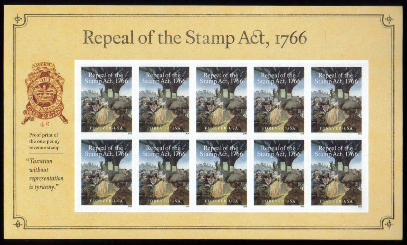 "Scott 5064 Sheet, Forever Stamp, sheet of 10, Repeal of the Stamp Act<p> <a href=""/images/USA-Scott-51R.jpg""><font color=green><b>View the image</a></b></font>"