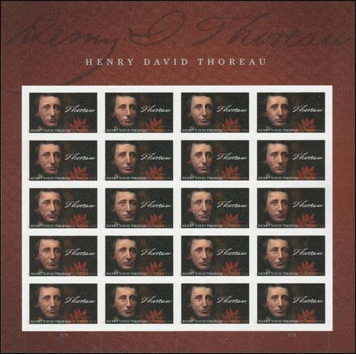 "Scott 5202, Pane of 20, Forever Stamp, Henry Thoreau<p> <a href=""/images/USA-Scott-5202-Sheet.jpg""><font color=green><b>View the image</a></b></font>"