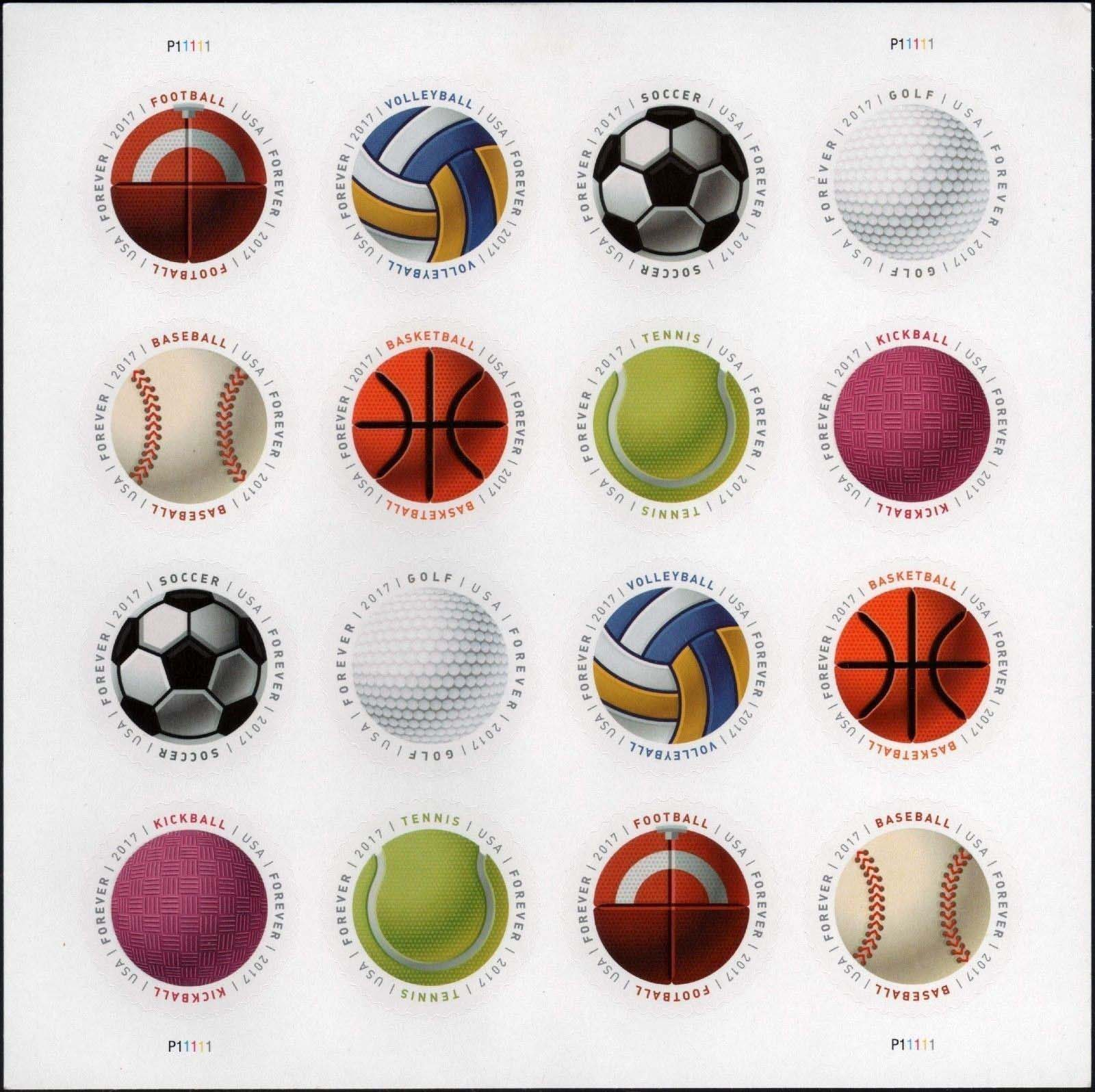"Scott 5203-5210, Pane of 16, Forever Stamp, Sport Balls<p> <a href=""/images/USA-Scott-5203-5210-Sheet.jpg""><font color=green><b>View the image</a></b></font>"