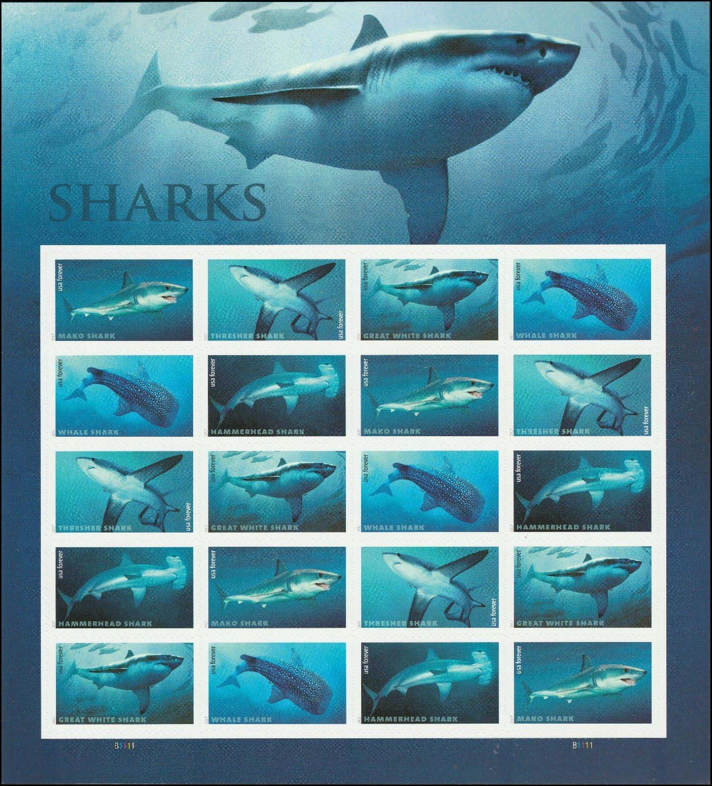 Scott 5223-5227, Pane of 20, Forever Stamp, Sharks<p> <a href=&quot;/images/USA-Scott-5223-5227-Sheet.jpg&quot;><font color=green><b>View the image</a></b></font>