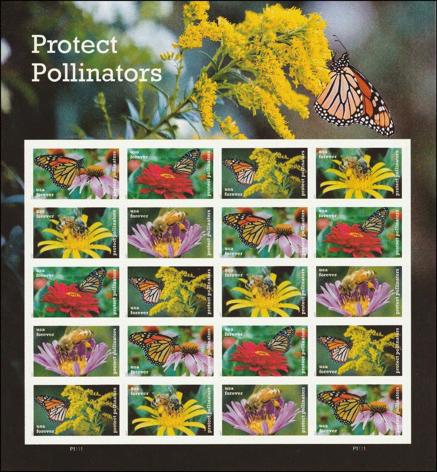 Scott 5228-5232, Pane of 20, Forever Stamp, Protect Pollinators<p> <a href=&quot;/images/USA-Scott-5228-5232-Sheet.jpg&quot;><font color=green><b>View the image</a></b></font>
