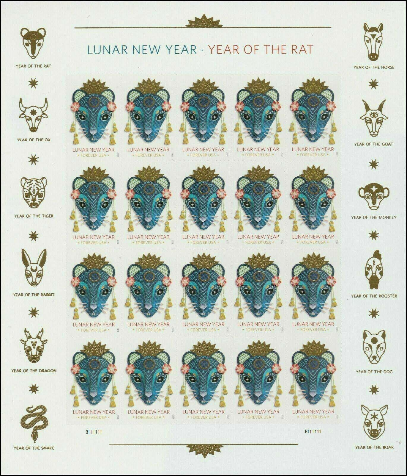 Scott #5428, Forever Sheet of 20, Lunar New Year, Year of The Rat