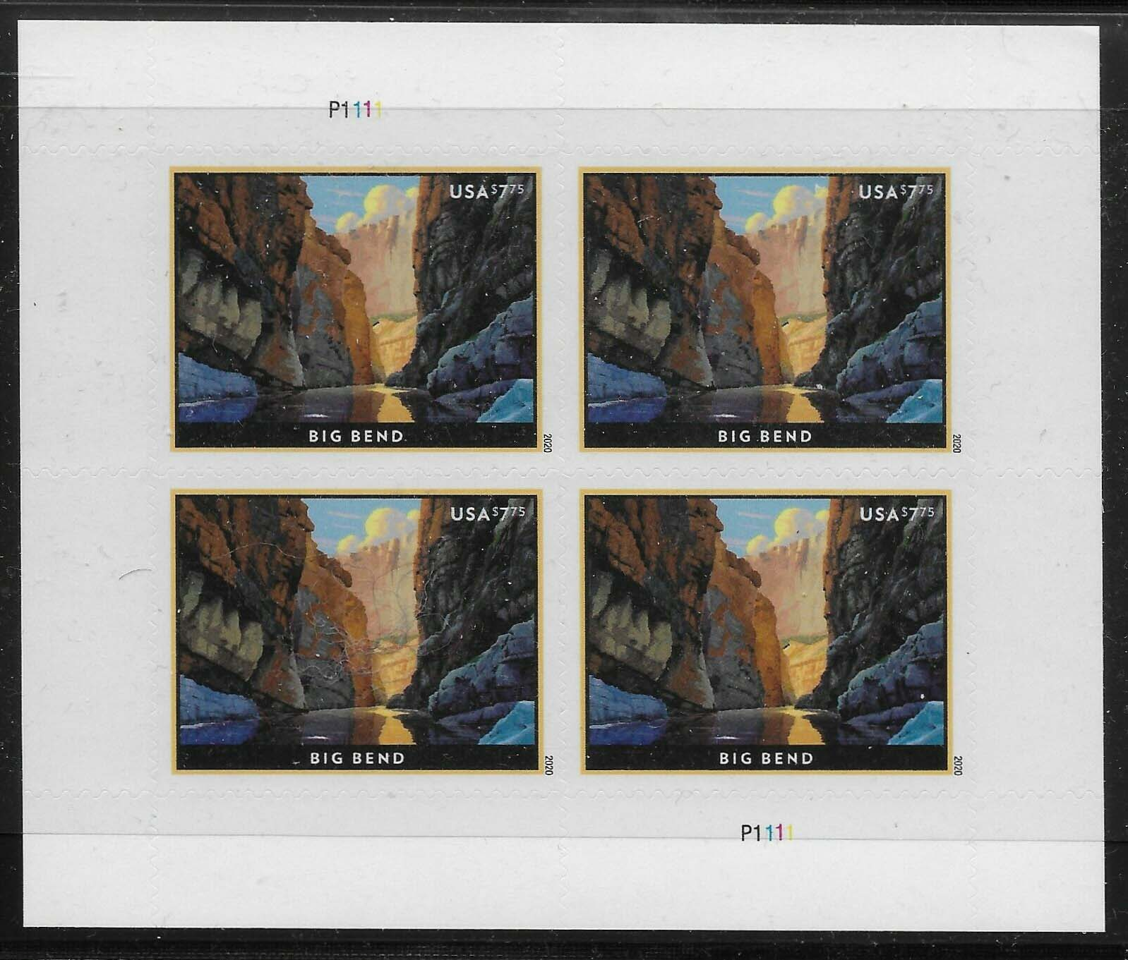 Scott #5429, Priority Mail, $7.75 Sheet of 4 stamps, Big Bend.