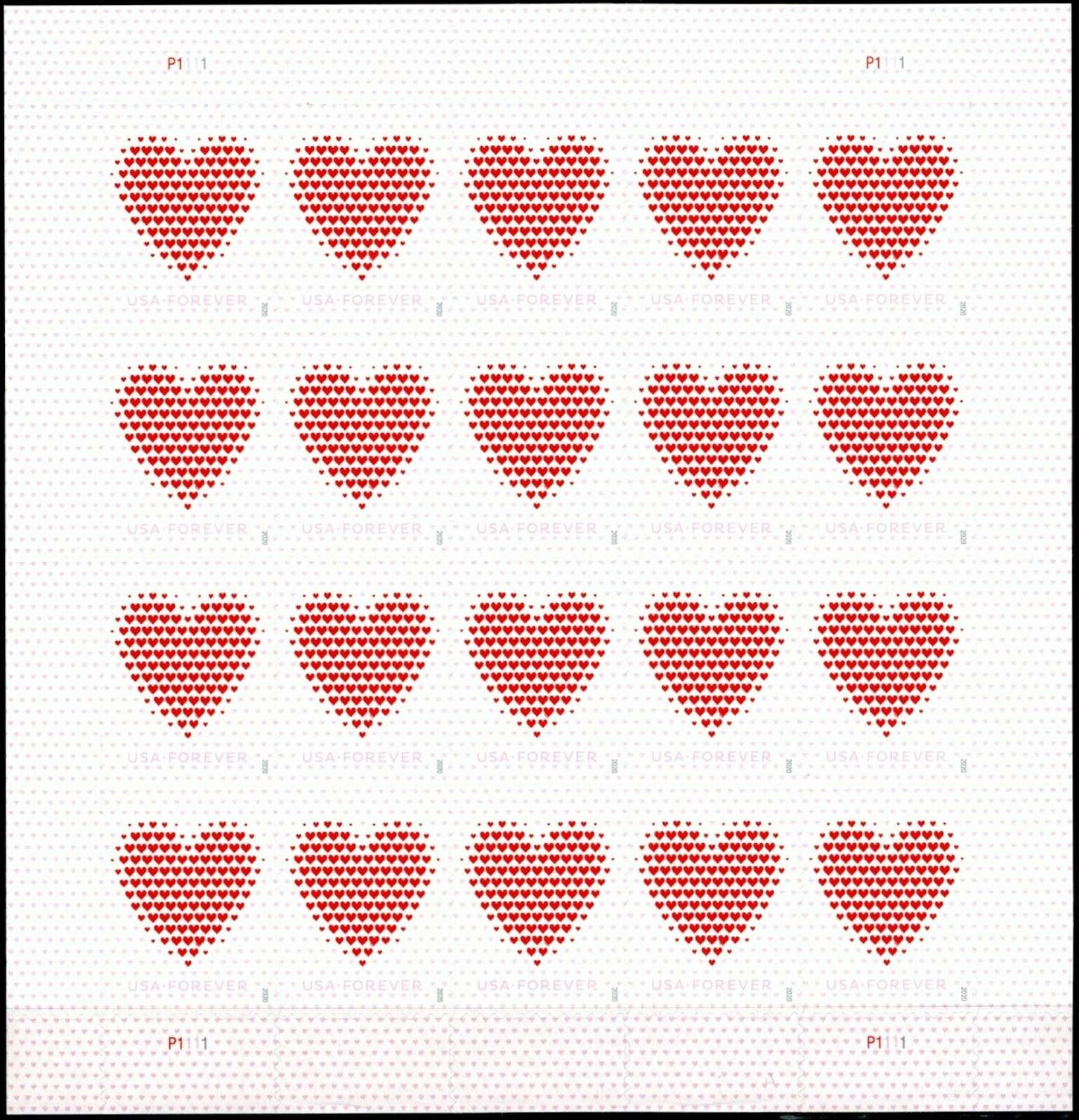 Scott #5431, Forever Sheet of 20, Love Hearts