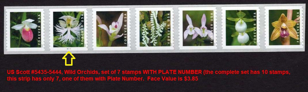 Scott #5435-5444, Forever Coil, Wild Orchids, set of 7 with Plate number