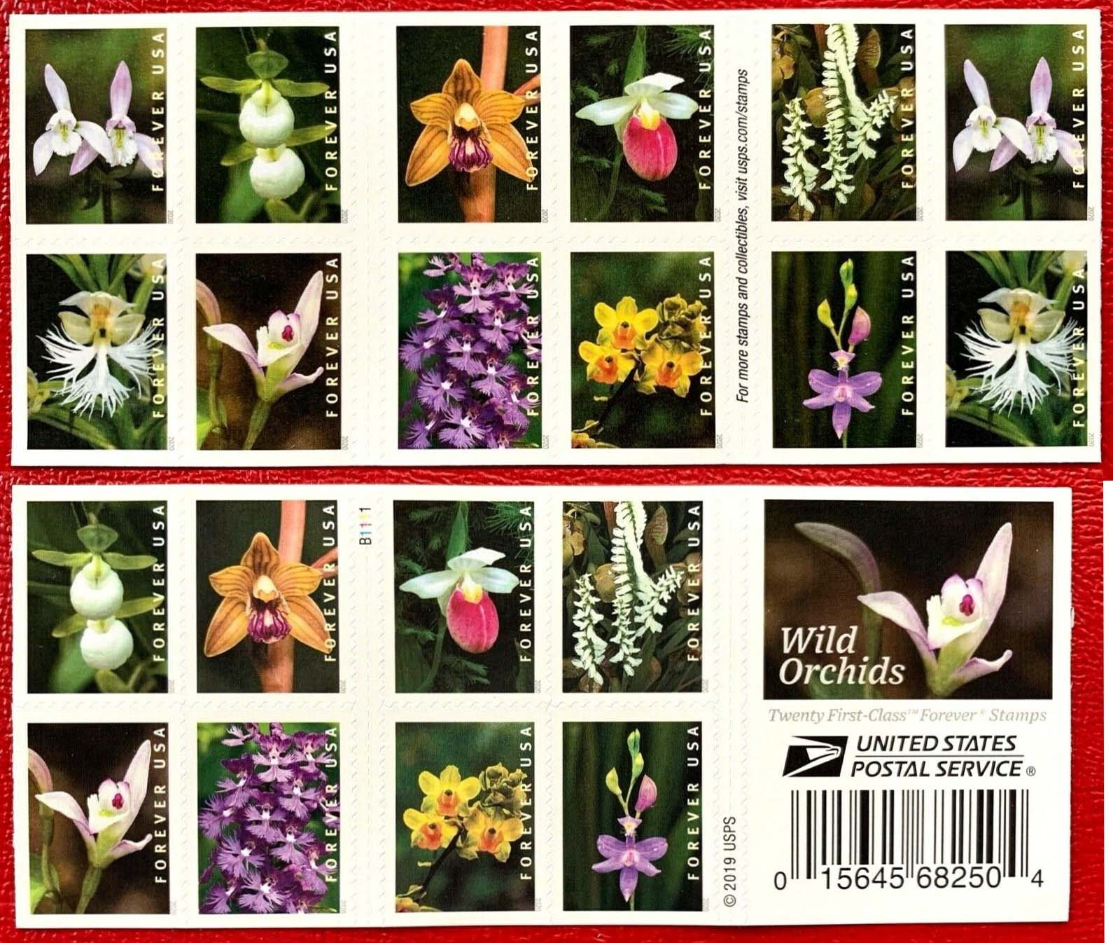 Scott #5435, Double sided Booklet Pane of 20, Wild Orchids