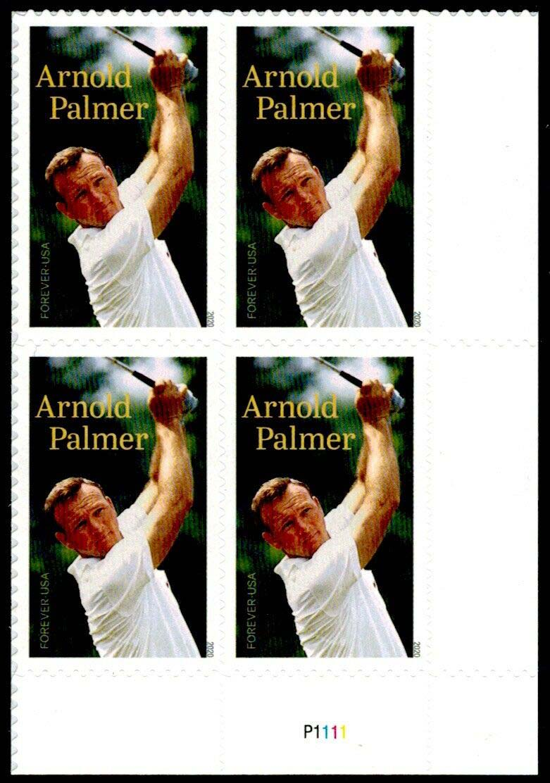 Scott #5455, Forever Plate Block of 4, Arnold Palmer