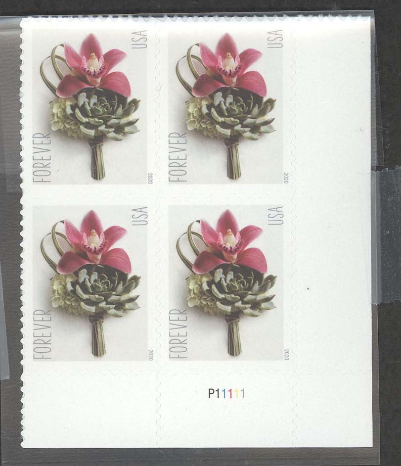 Scott #5457, Forever Plate Block of 4, Contemporary Boutonniere