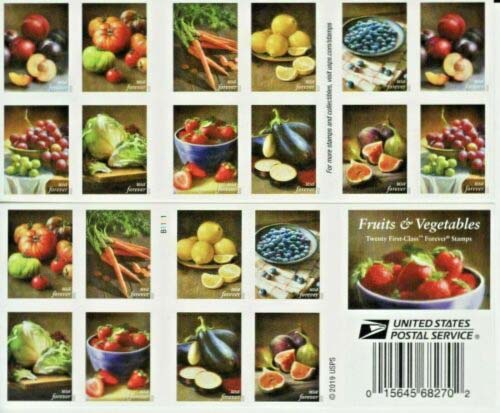 Scott #5484-5493, Double sided Booklet Pane of 20, Fruits and Vegetables