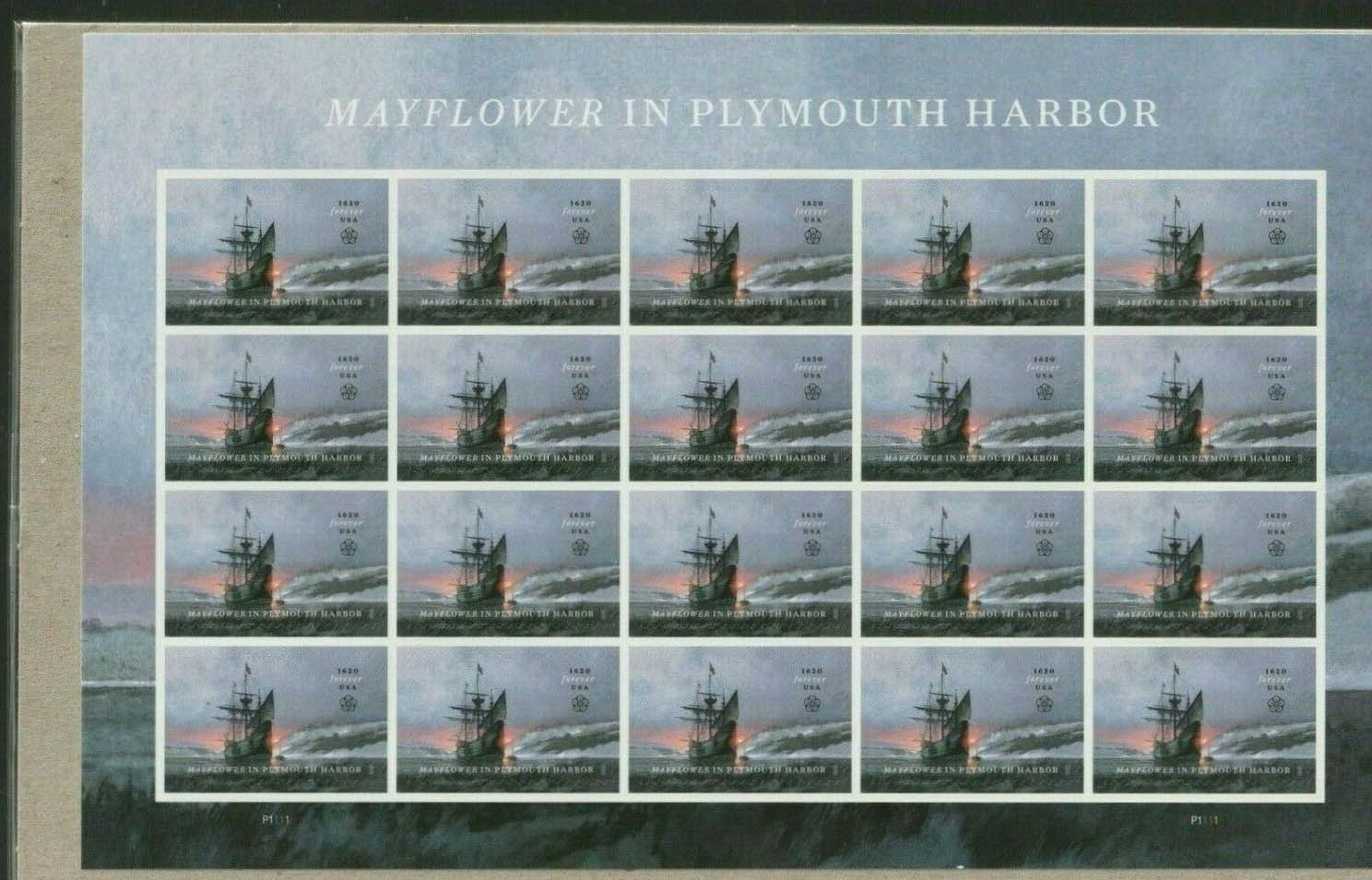 Scott #5524, Forever Sheet of 20, Mayflower in Plymouth Harbor