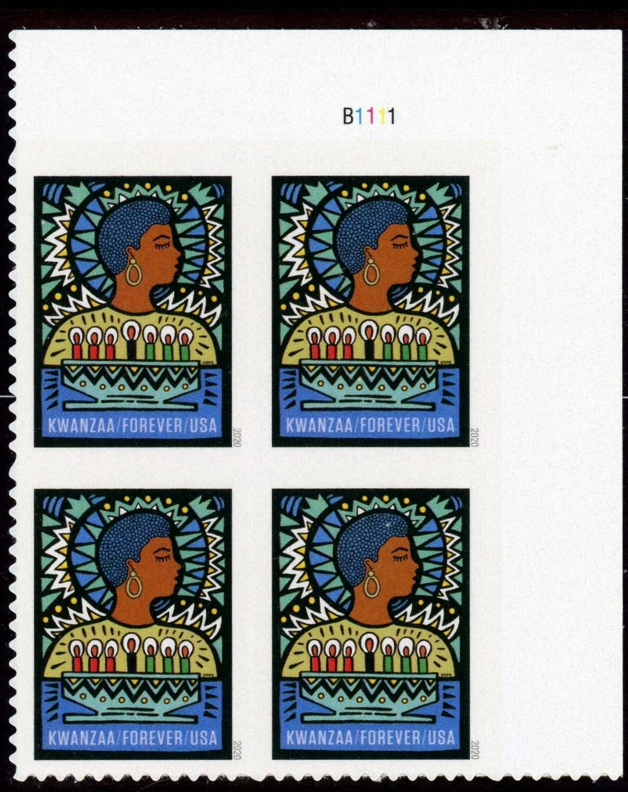 Scott #5530, Forever Plate Block of 4, Kwanzaa