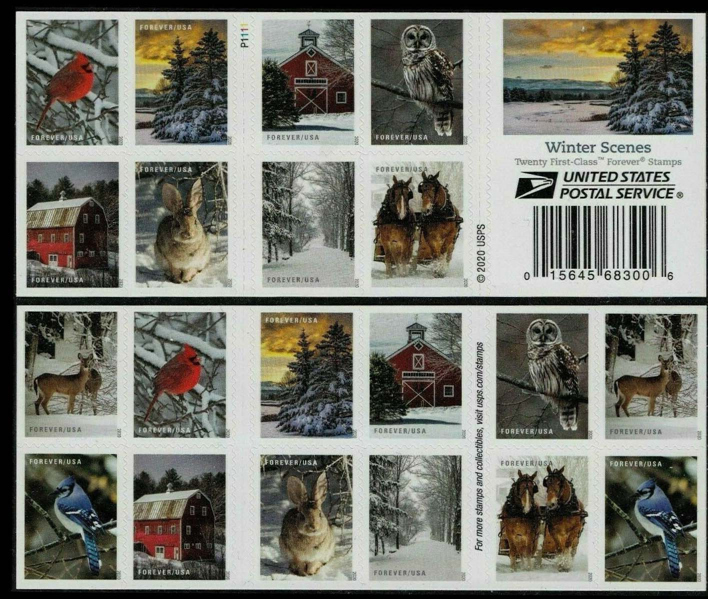 Scott #5531-5540, Double sided Booklet Pane of 20, Winter Scenes